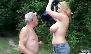 Stout eminent jugged slattern shagging granddad near a rural area