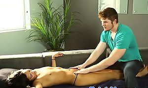 Young pulchritude blowing cock after literal massage