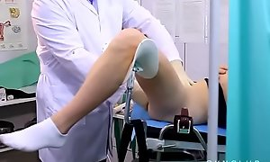 Vibro orgasm on gyno chair