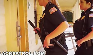 BLACK PATROL - Uninspired Cops With Big Tits Railing Big Black Load of go to the bathroom Beyond An obstacle Job