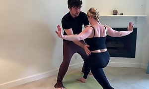 Stepson helps stepmom in all directions yoga together with stretches her pussy
